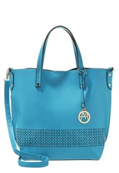 Anna Field Tote Bag Aqua Black Turquoise