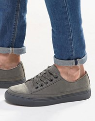 Asos Trainers In Grey Faux Suede With Toe Cap Grey
