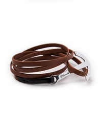 Miansai Two Tone Leather Anchor Bracelet Brown Black