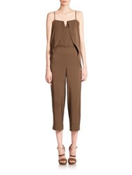 Halston Cropped Overlay Detail Jumpsuit Sage