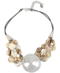 Robert Lee Morris Soho Silver Tone Corded Shell Inspired Statement Necklace