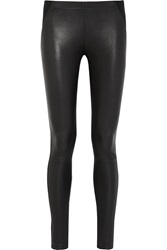Donna Karan Leather And Stretch Jersey Leggings Black