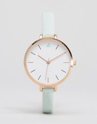 Asos Large Face Skinny Strap Watch With Rose Gold Detail Mint Green