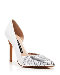 French Connection Pointed Toe Perforated D'orsay Pumps Mabel High Heel Silver Summer White