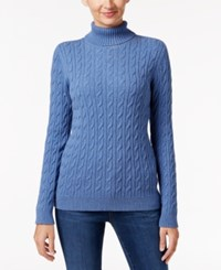 Charter Club Cable Knit Turtleneck Sweater Only At Macy's Carbon Blue Heather