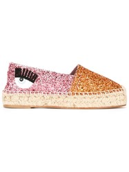Chiara Ferragni 'Flirting' Glitter Espadrilles Yellow And Orange