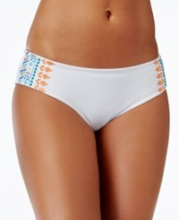 Bikini Nation Embroidered Hipster Bikini Bottom Women's Swimsuit White