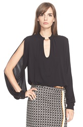 Tracy Reese Split Sleeve Keyhole Shirt Black