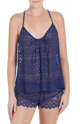 In Bloom By Jonquil Women's Lace Trim Chiffon Pajamas Deep Blue