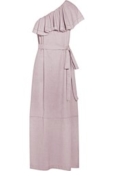 Lisa Marie Fernandez Arden Ruffled One Shoulder Chambray Maxi Dress Taupe