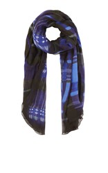 Karen Millen Watercolour Check Scarf Blue Multi