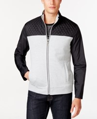Alfani Black Ray Quilted Nylon Full Zip Mock Neck Jacket Only At Macy's