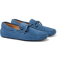 Tod's Gommino Suede Driving Shoes Storm Blue