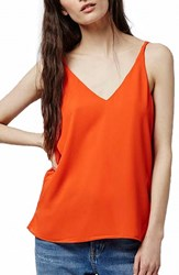Topshop Women's Double Strap V Back Camisole Red