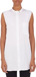 Proenza Schouler Button Back Tunic Shirt White Size 2 Us