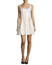 Shoshanna Fit And Flare Jacquard Party Dress White Gold