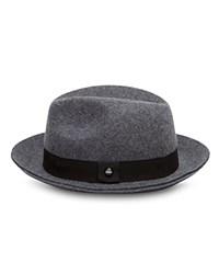 Ted Baker Hattie Wool Contrast Band Fedora Hat Charcoal