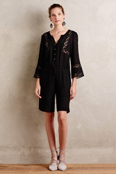 Twelfth St. By Cynthia Vincent Embroidered Bermuda Romper Black
