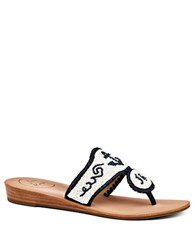 Jack Rogers Oceania Beaded Leather Sandals White