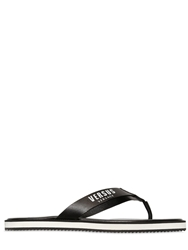 Versus Logo Printed Leather Flip Flops Black White