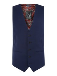 New And Lingwood Wenlock Textured Suit Waistcoat Blue