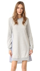 Clu Too Tie Back Mix Media Dress Heather Grey