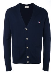 Maison Kitsune Placket Detail Cardigan Blue