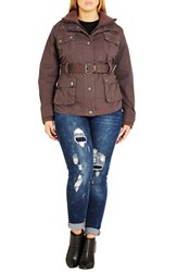 City Chic Plus Size Women's Rib Knit Trim Belted Utility Jacket Cocoa