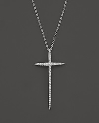 Bloomingdale's Diamond Cross Pendant Necklace In 14K White Gold .25 Ct. T.W.