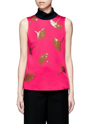 3.1 Phillip Lim 'Ginkgo' Leaf Sequin Satin Tank Top Pink