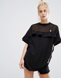 Lazy Oaf Oversized T Shirt With Sheer Insert And Frill Black