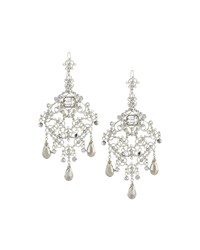 Jose And Maria Barrera Large Crystal Filigree Chandelier Earrings Silver