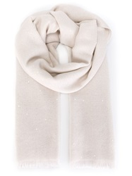 Brunello Cucinelli Frayed Scarf Nude And Neutrals