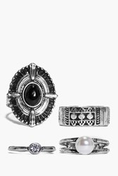Boohoo Large Stone And Pearl Mixed Ring Pack Silver