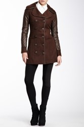 Vertigo Quilted Faux Leather Sleeve Double Breasted Coat Black