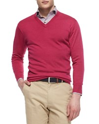 Peter Millar Long Sleeve V Neck Sweater Pink