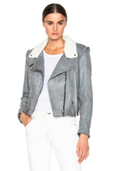 Golden Goose Golden Leather Jacket In Gray