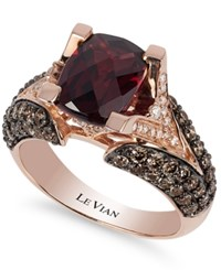 Le Vian Raspberry Rhodolite Garnet 3 Ct. T.W. Chocolate Diamond 1 1 5 Ct. T.W. And White Diamond Accent Ring In 14K Rose Gold