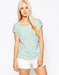Maison Scotch Burnout Effect Mint T Shirt Green
