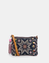 Warehouse Star Embroidered Clutch Navy