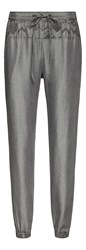 Sandwich Comfort Fit Trousers With Embroidery Detail Grey