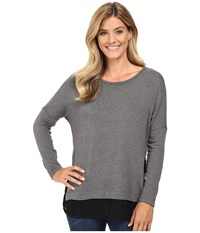 Karen Kane Lace Hem Sweater Top Dark Heather Grey Black Women's Sweater Blue