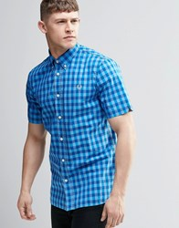 Fred Perry Shirt In Slim Fit In Bold Check In Blue Short Sleeve Cobalt