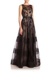 Rickie Freeman For Teri Jon Embellished Floral Applique Gown Black Nude