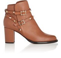 Valentino Women's Rockstud Leather Double Strap Boots Gold