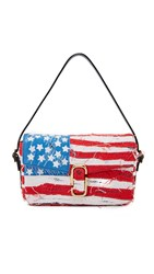 Marc Jacobs J Marc Distressed American Flag Shoulder Bag American Flag With Gold
