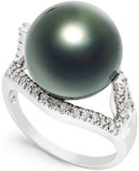 Macy's Tahitian Pearl 13Mm And Diamond 1 4 Ct. T.W. Ring In 14K White Gold