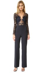 Michelle Mason Long Sleeve Lace Jumpsuit Midnight
