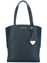 Twin Set Hanging Heart Tag Tote Blue