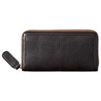 Orla Kiely Sixties Stem Punched Leather Zip Wallet Black